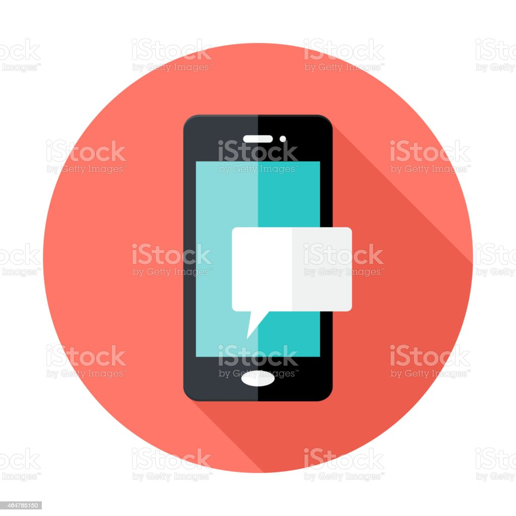 Smartphone Notification Flat Circle Icon vector art illustration