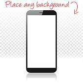 Smartphone on white floor and blank background, Mobile Phone Template