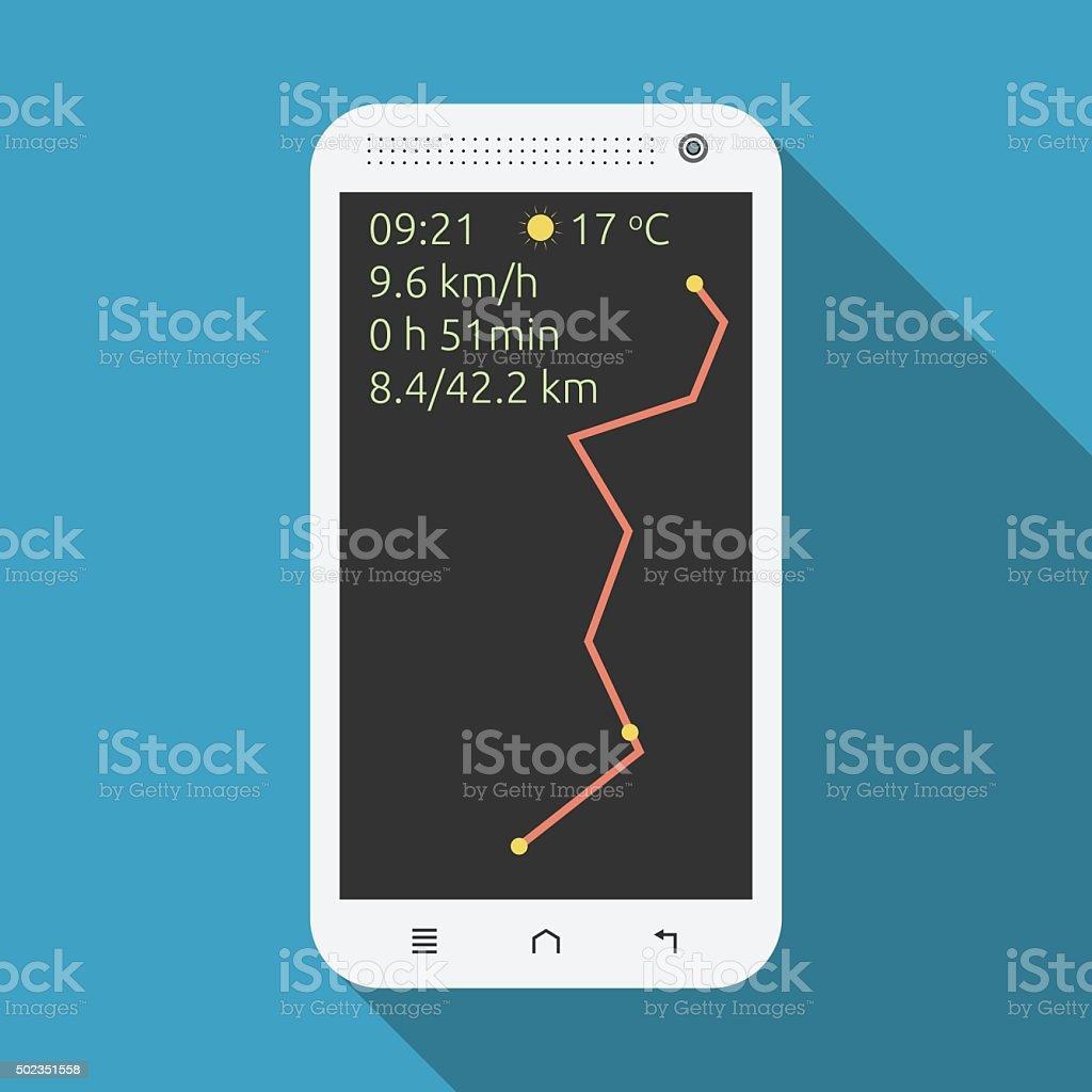 Smartphone showing marathon information vector art illustration