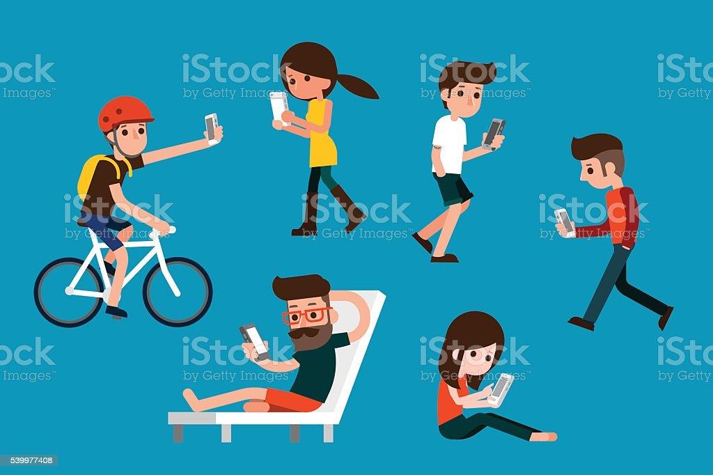 Smartphone society. vector art illustration