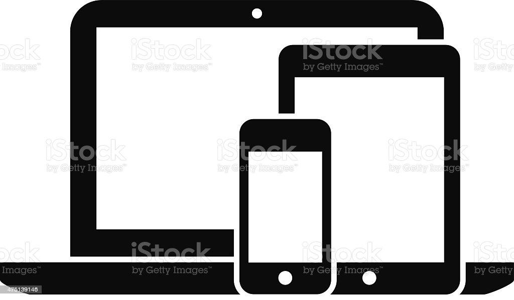 smartphone, tablet and laptop vector art illustration