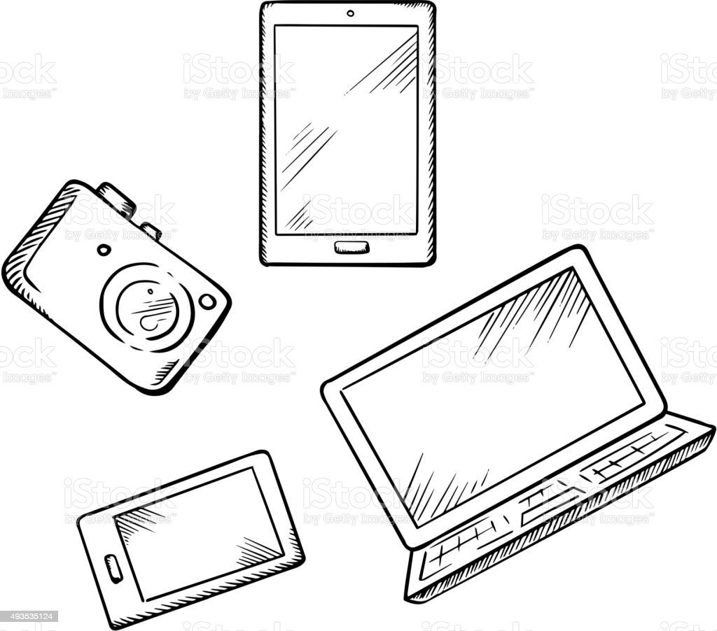 Smartphone, tablet pc, laptop and camera vector art illustration