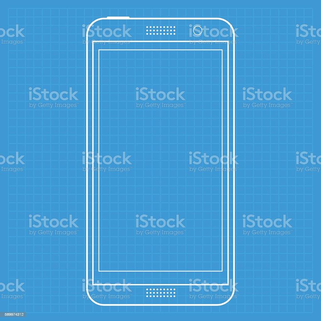 Smartphone template on blueprint vector art illustration
