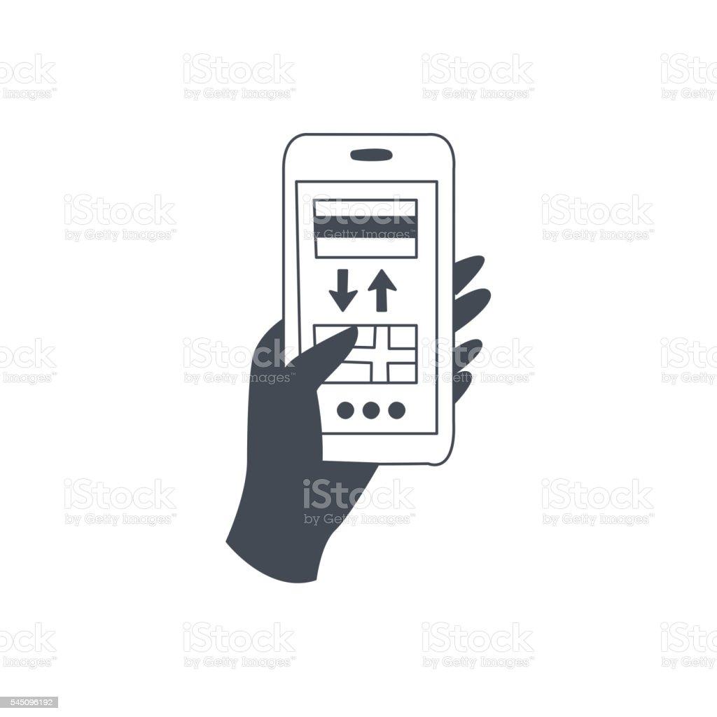 Smartphone Translation Application vector art illustration