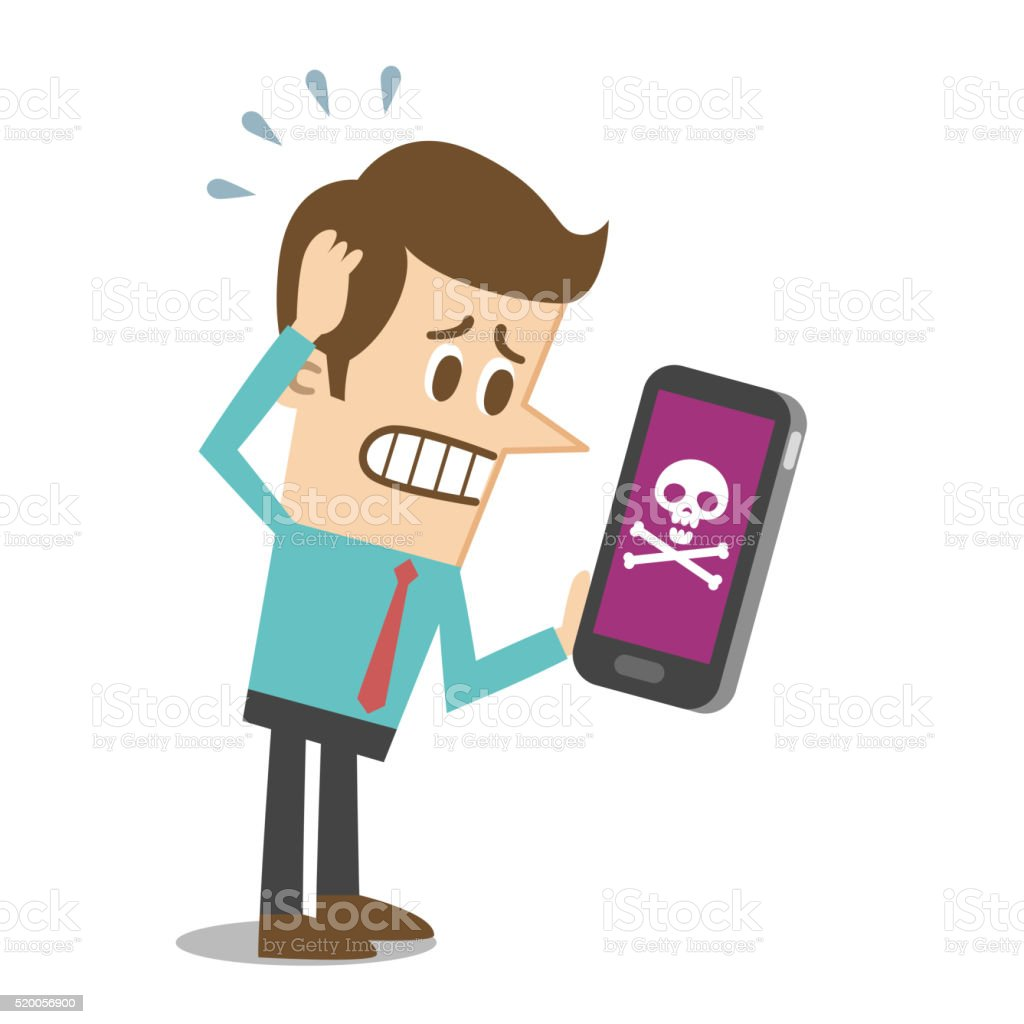 Smartphone troubles vector art illustration