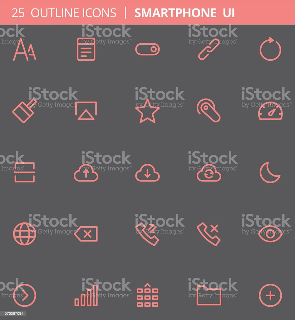 Smartphone UI Outline Icons (Set of 25) vector art illustration