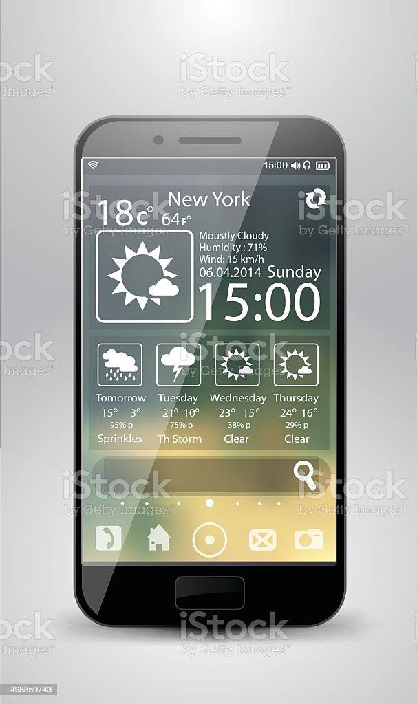 Smartphone widget météo stock vecteur libres de droits libre de droits