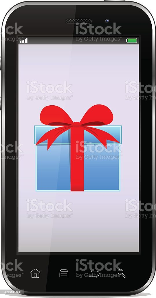 Smart-phone with a gift on the screen royalty-free stock vector art