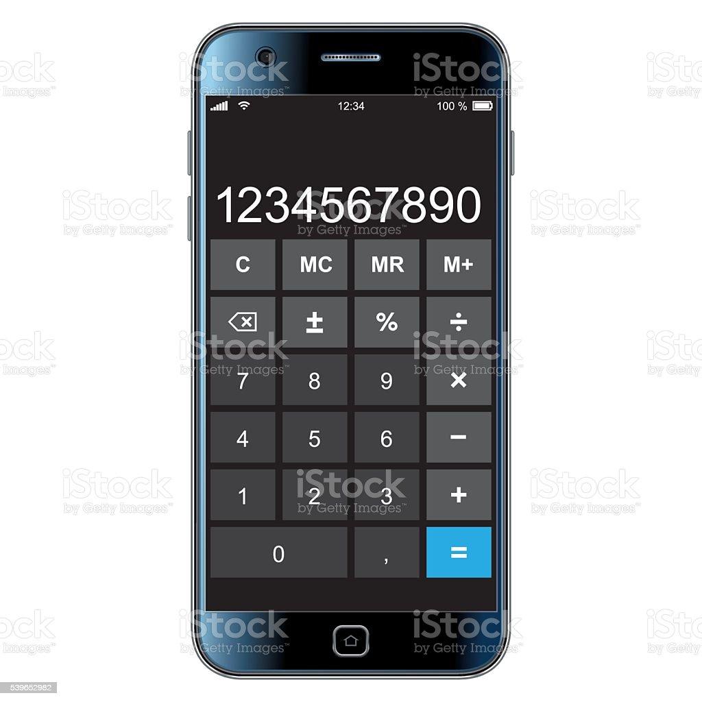 smartphone with calculator vector art illustration