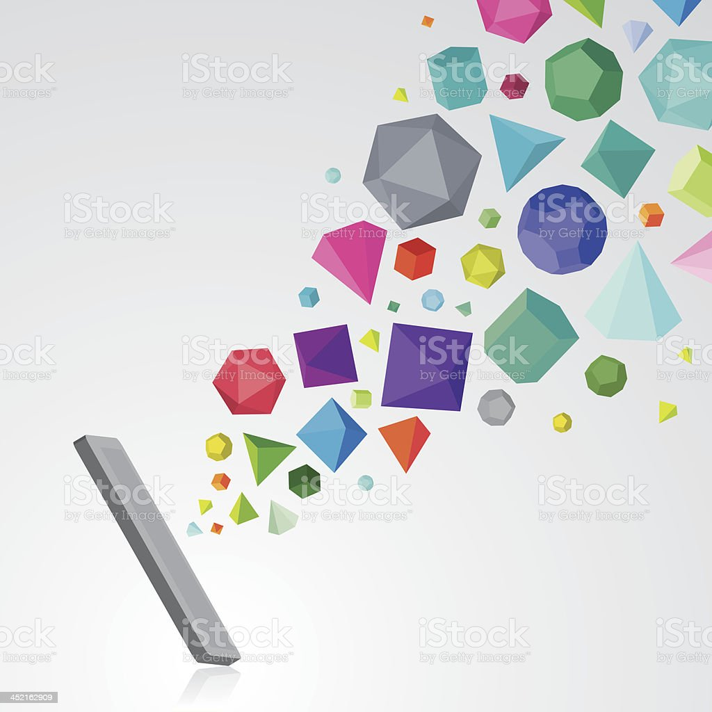 Smartphone with colourful gems vector art illustration