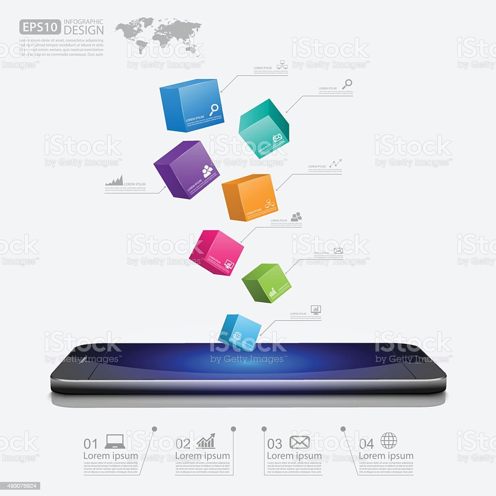 smartphone with cube 3d,vector vector art illustration