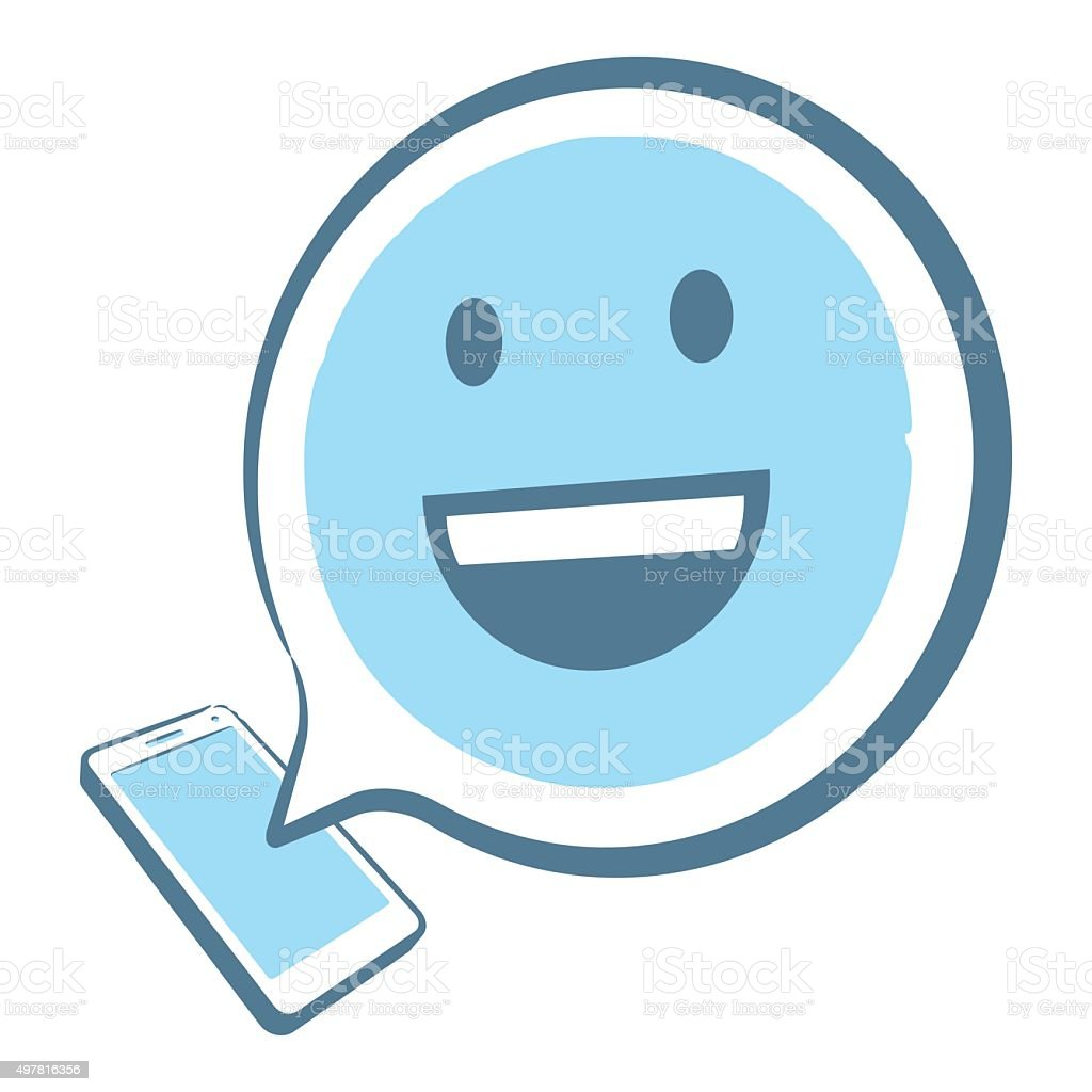 3D Smartphone with emoji in a speech bubble vector art illustration