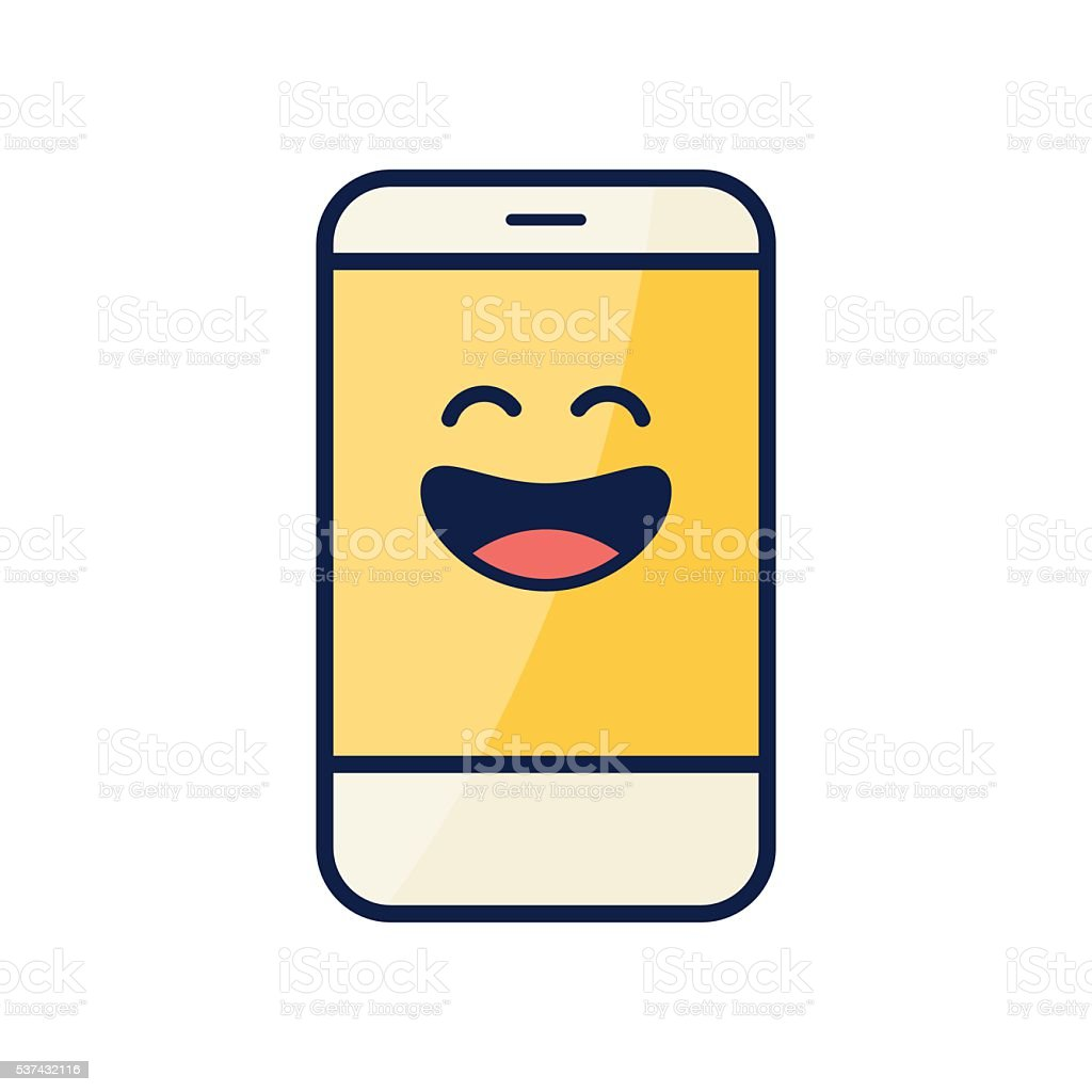 Smartphone with emoticon on screen vector art illustration
