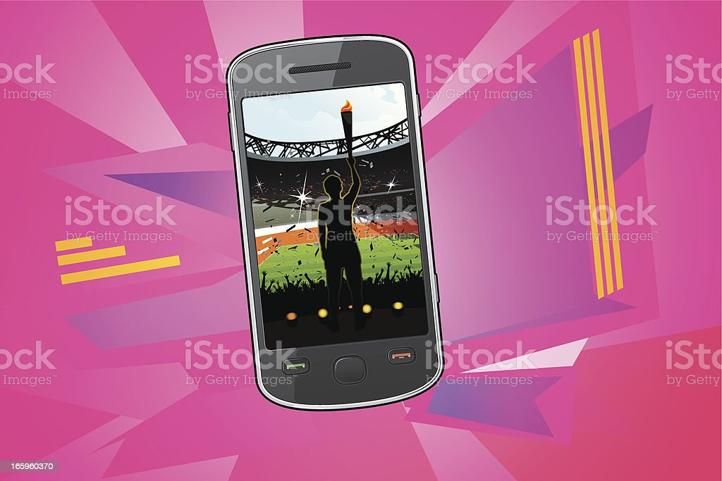 Smartphone with Olympic Games opening ceremony vector art illustration