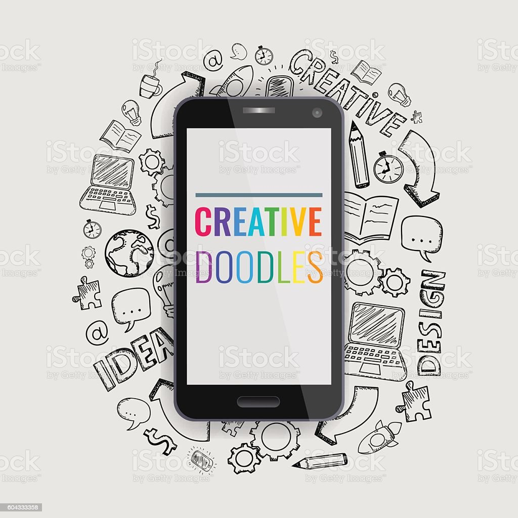 Smartphone with hand drawn doodle icons. Vector royalty-free stock vector art