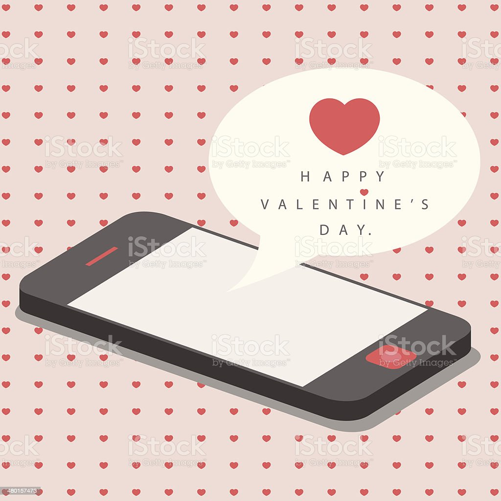 smartphone with love message for valentine day vector art illustration