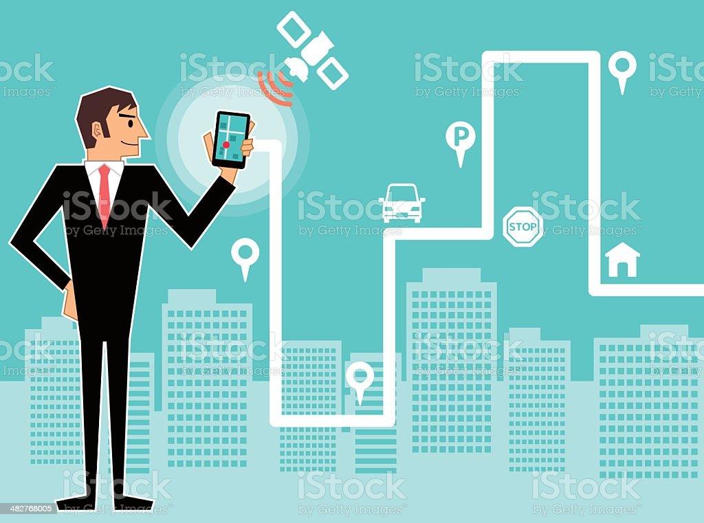 Smartphone with navigation vector art illustration