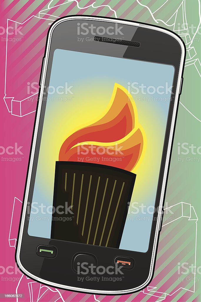 Smartphone with Olympic Torch vector art illustration