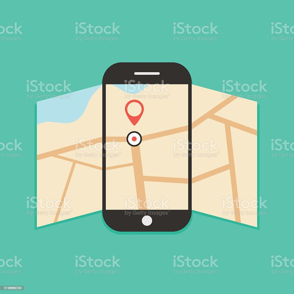 smartphone with opened map isolated on green background vector art illustration