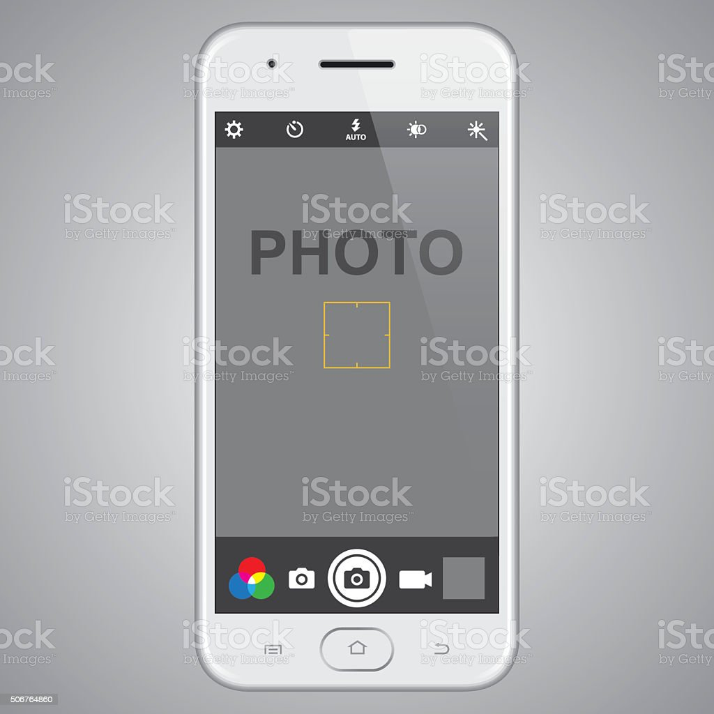 Smartphone with photo template vector art illustration