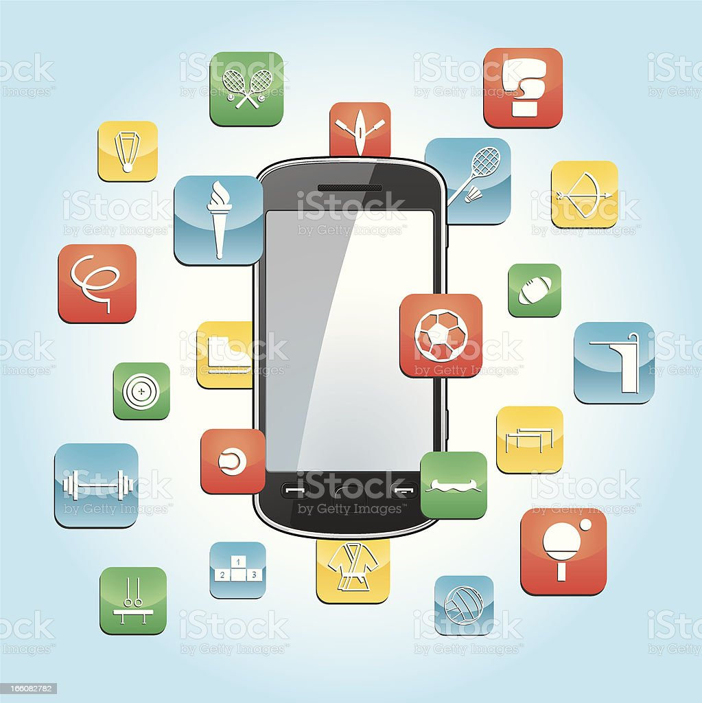 Smartphone with sports app icons vector art illustration