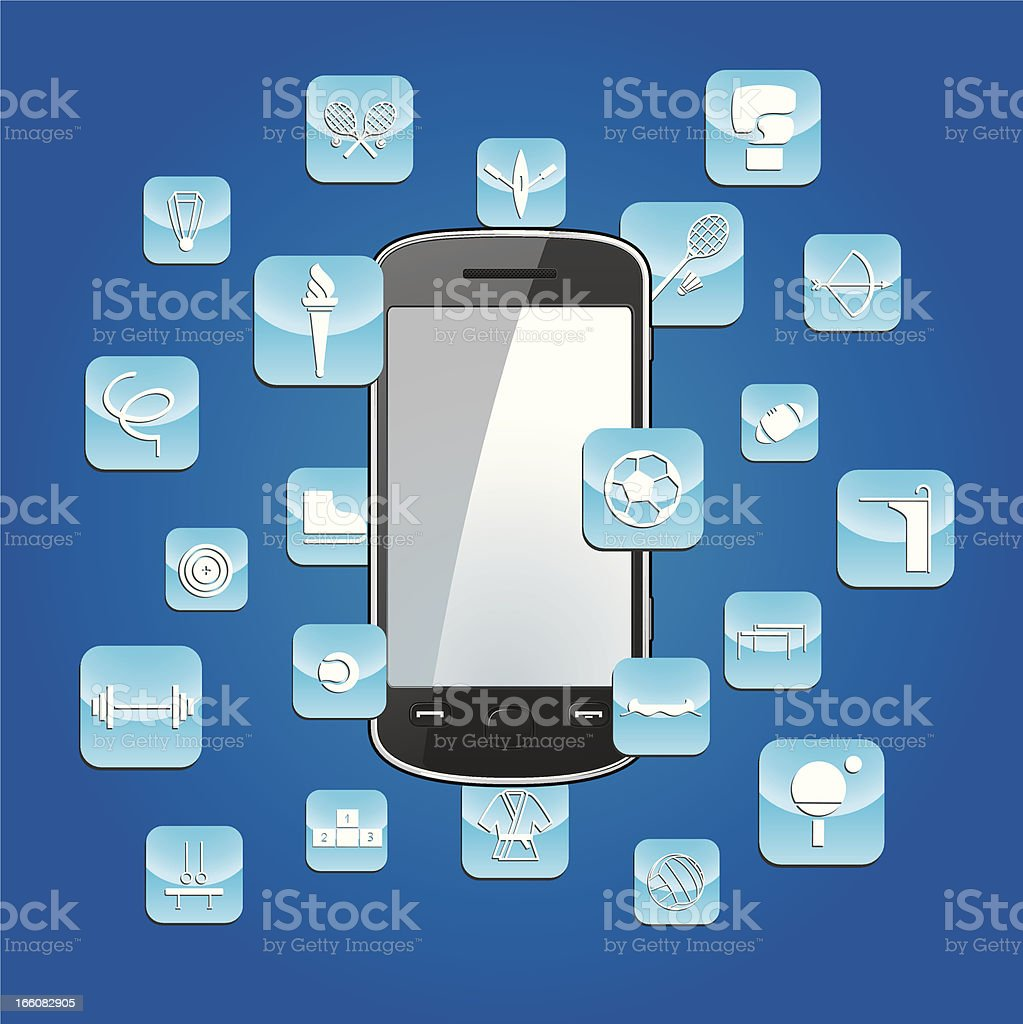 Smartphone with sports app icons royalty-free stock vector art