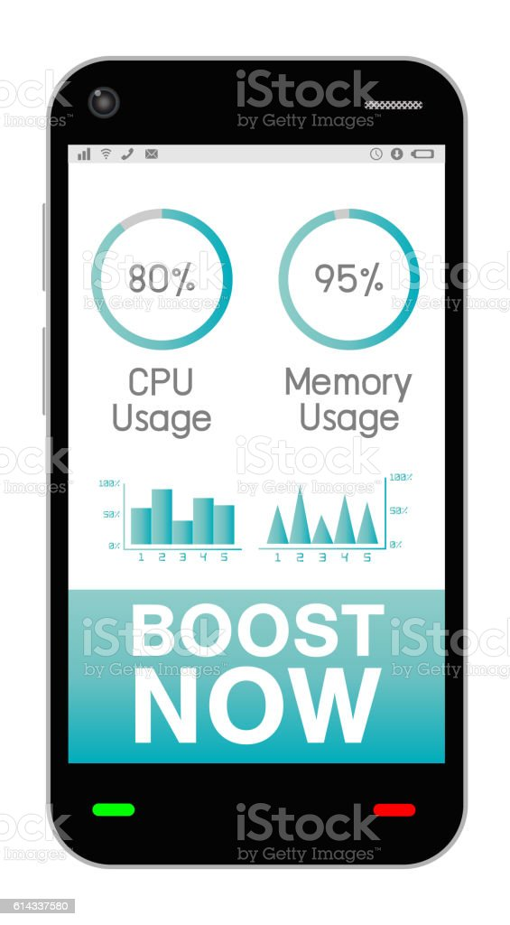 smartphone with task manage boost application vector art illustration