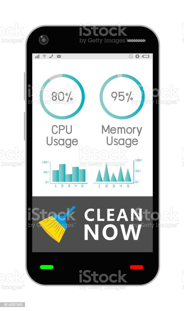 smartphone with task manage cleaning application vector art illustration