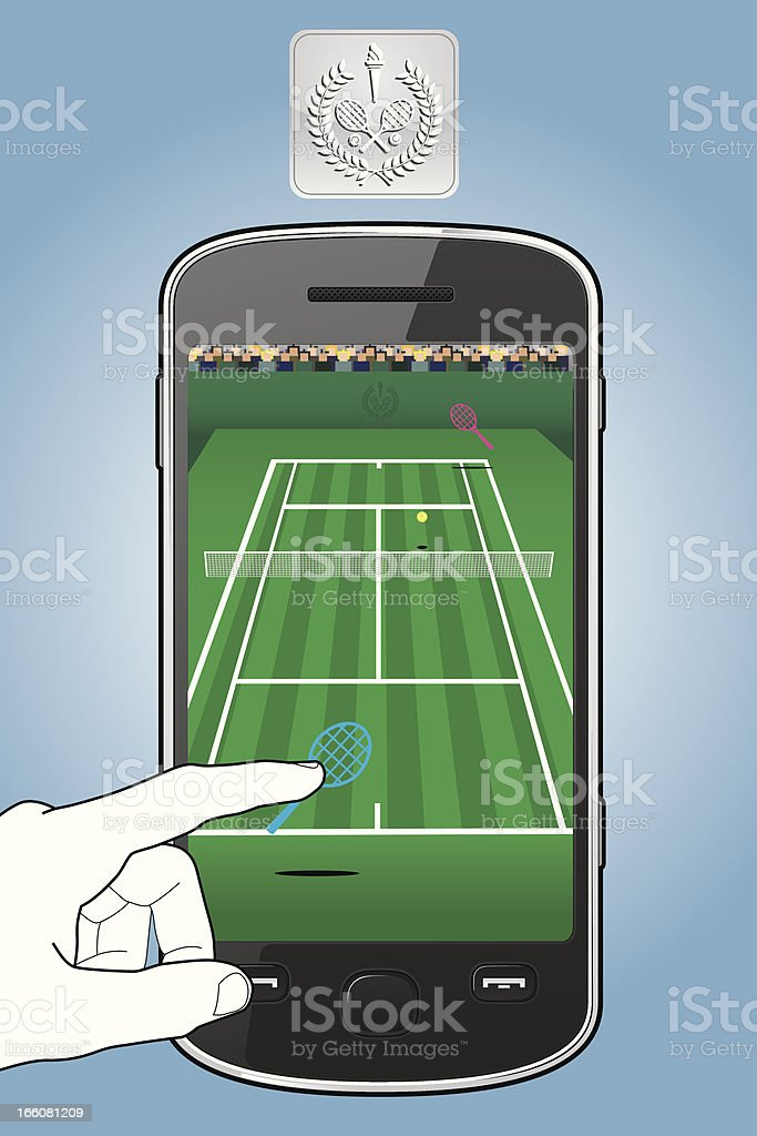 Smartphone with tennis game vector art illustration
