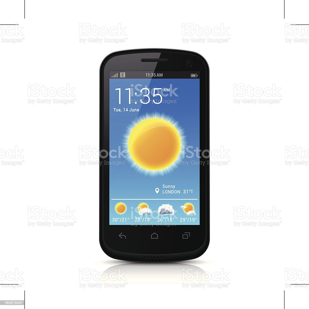 Smartphone with Weather App vector art illustration