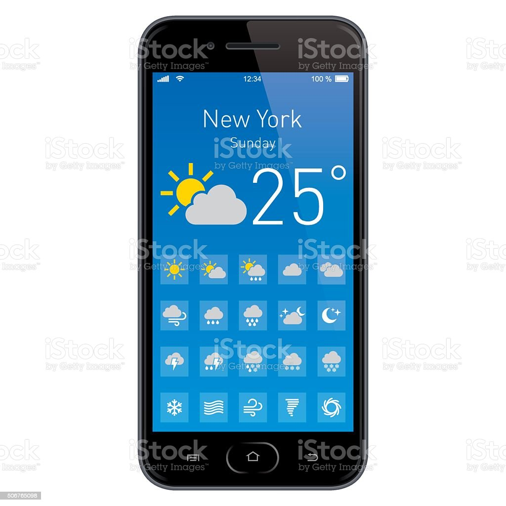 Smartphone with Weather App. stock photo