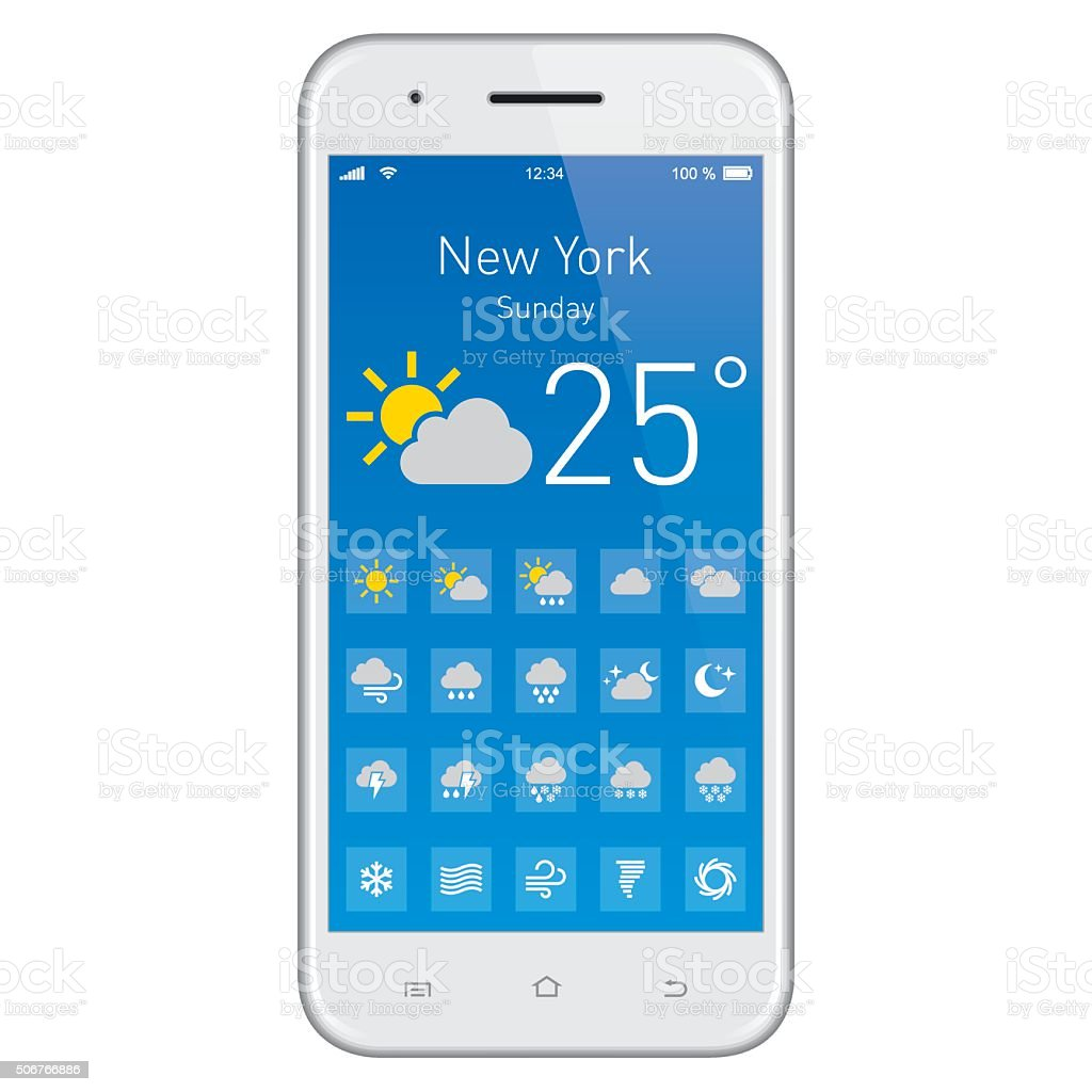 Smartphone with Weather App. vector art illustration