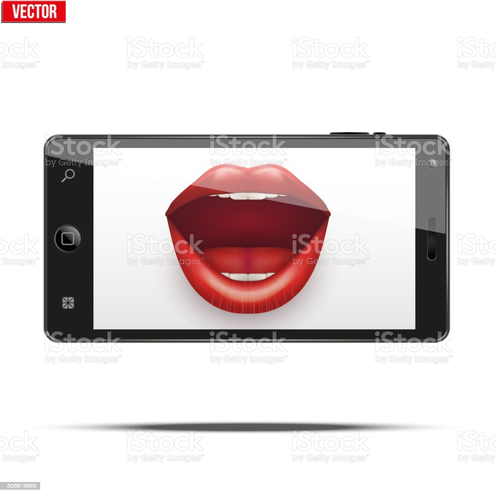 Smartphone with women's lips on the screen. royalty-free stock vector art