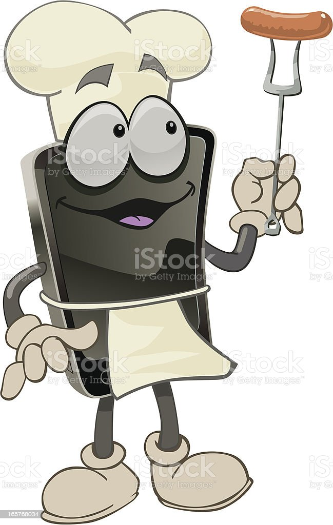 smartphone-cook vector art illustration
