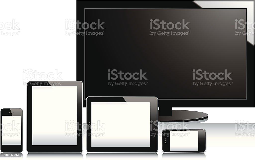 TV, smartphones and tablets vector art illustration