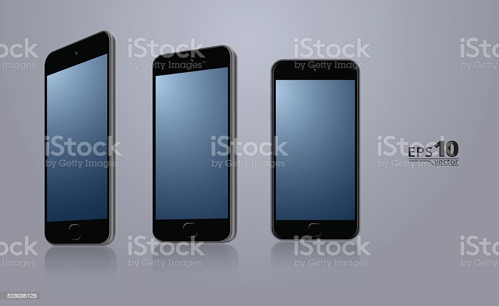 3 smartphones vector art illustration