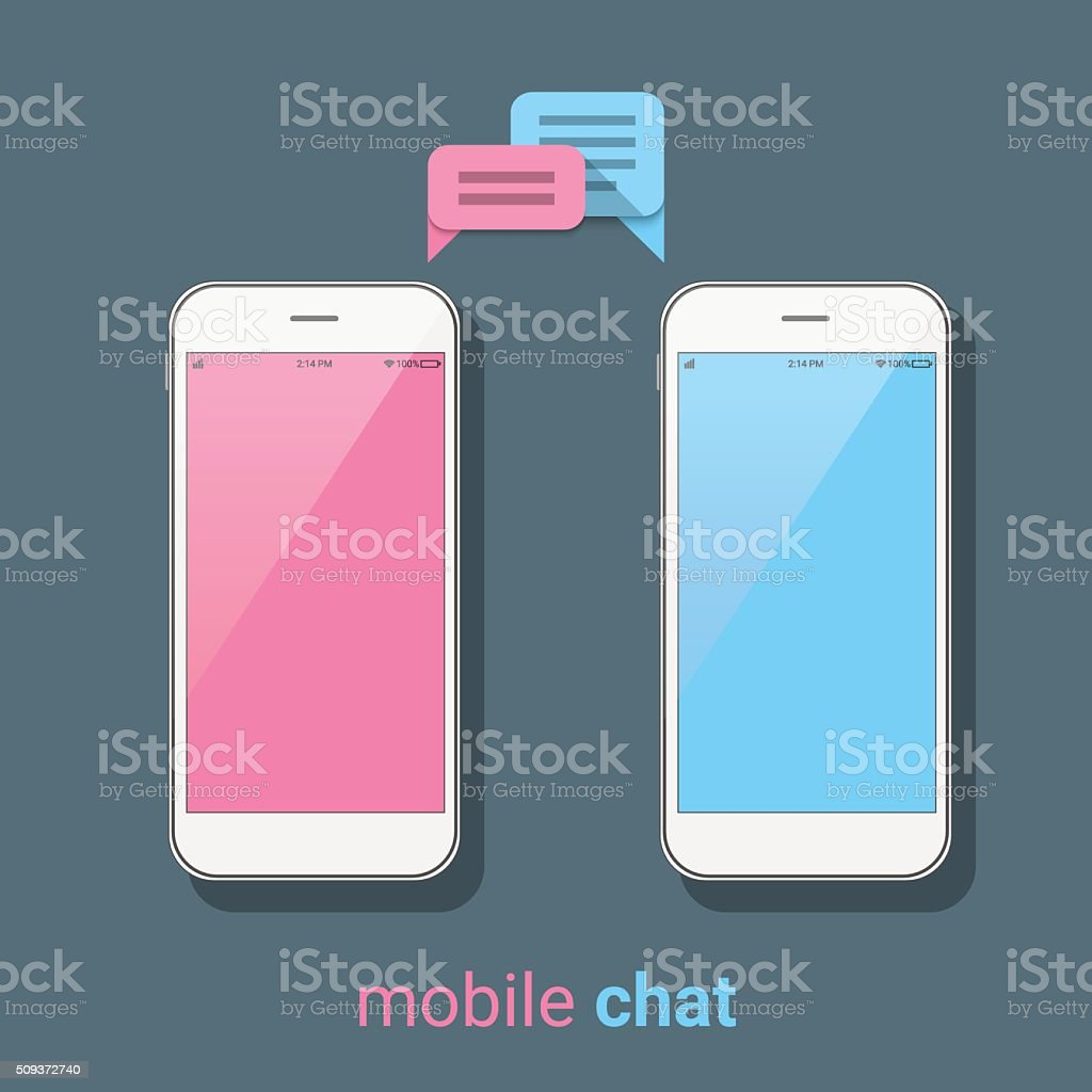 Smartphones with colorful speech bubbles. Mobile chat, online messages. vector art illustration
