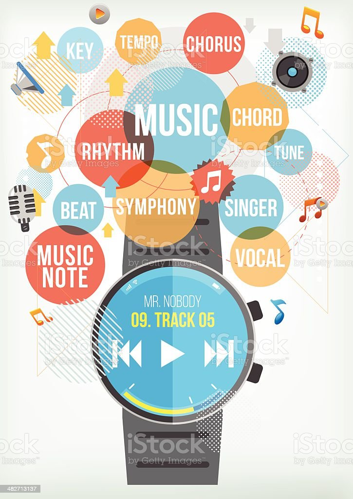 Smartwatch for Music royalty-free stock vector art