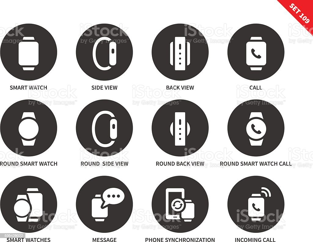 Smartwatch icons on white background vector art illustration