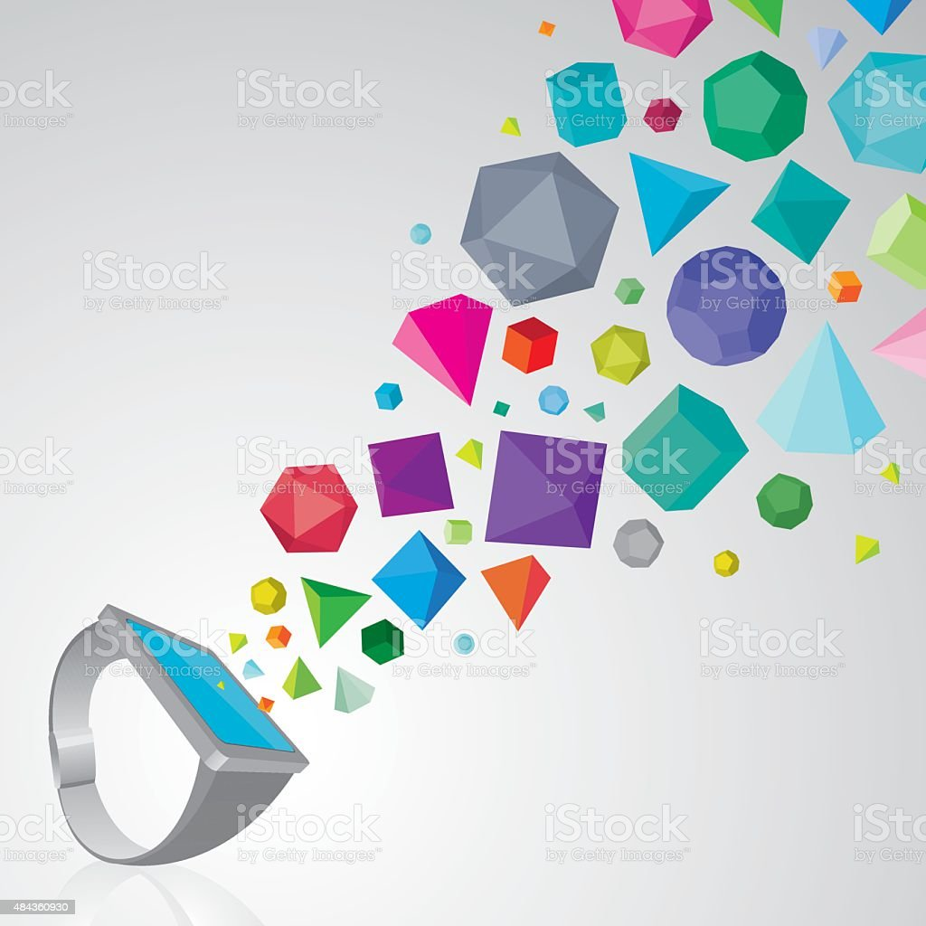 Smartwatch with colourful 3D solids vector art illustration