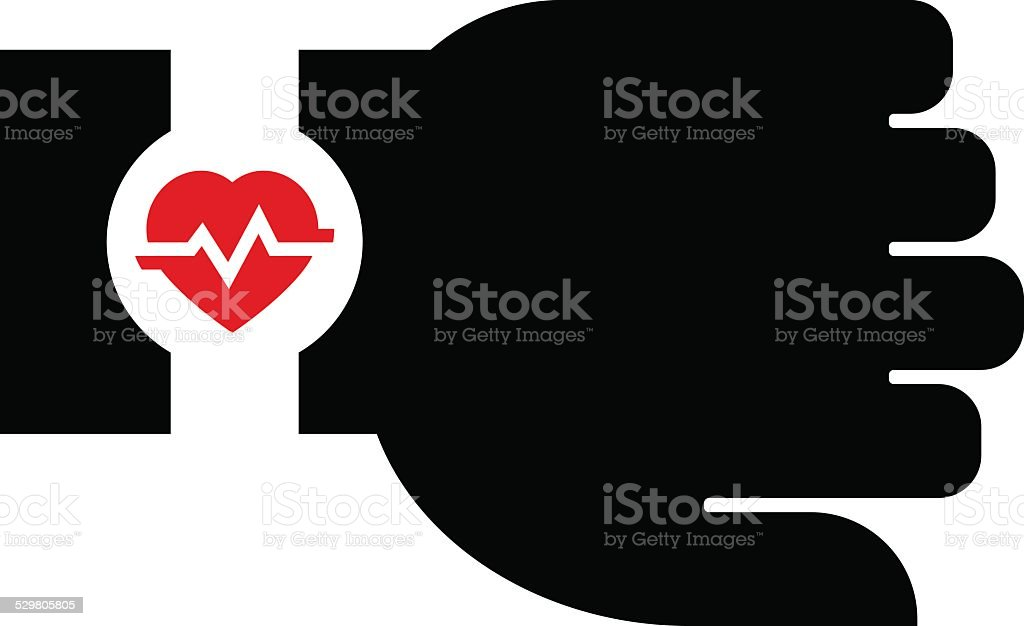 Smartwatch with heart rate icon vector art illustration