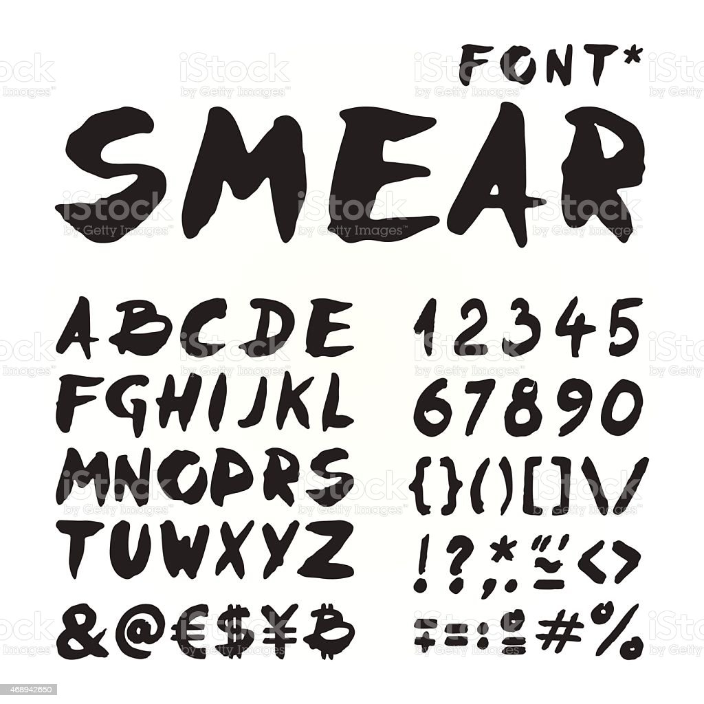 Smear hand painted font vector art illustration