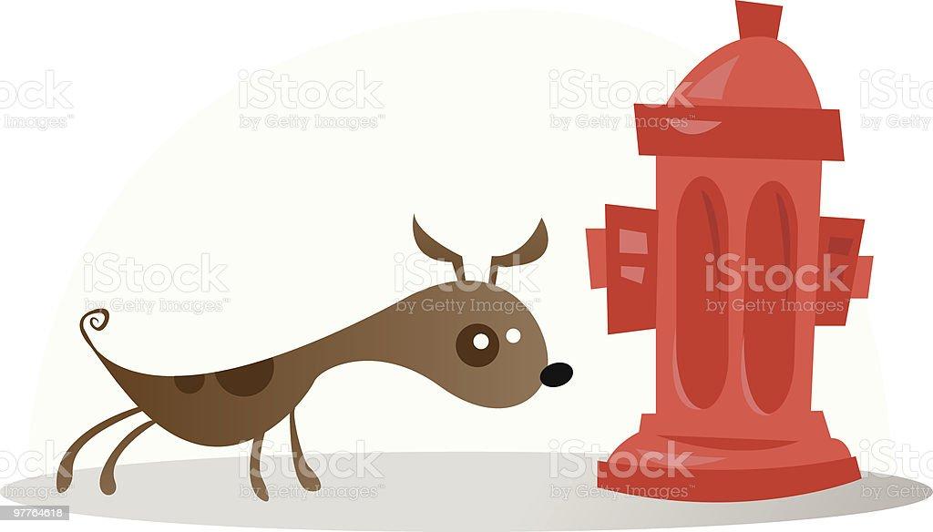 smelling dog vector art illustration