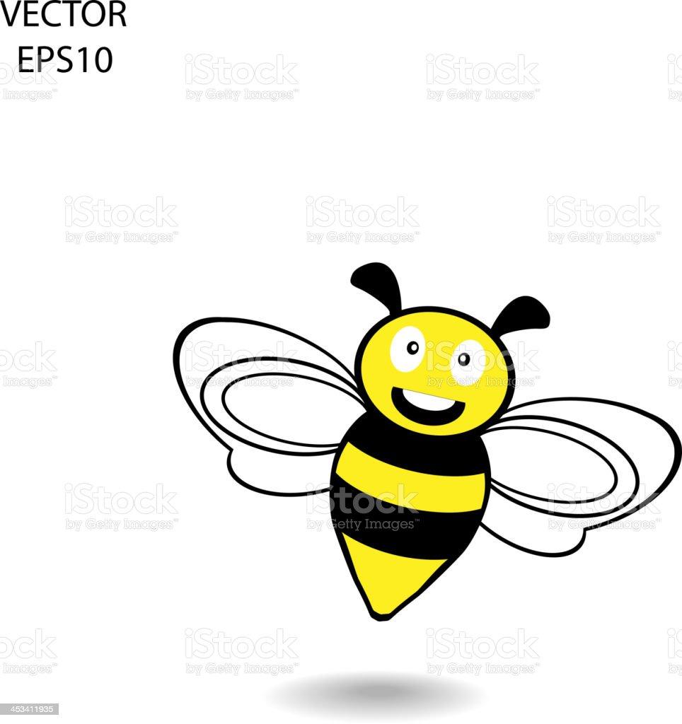 smile bee icon vector art illustration
