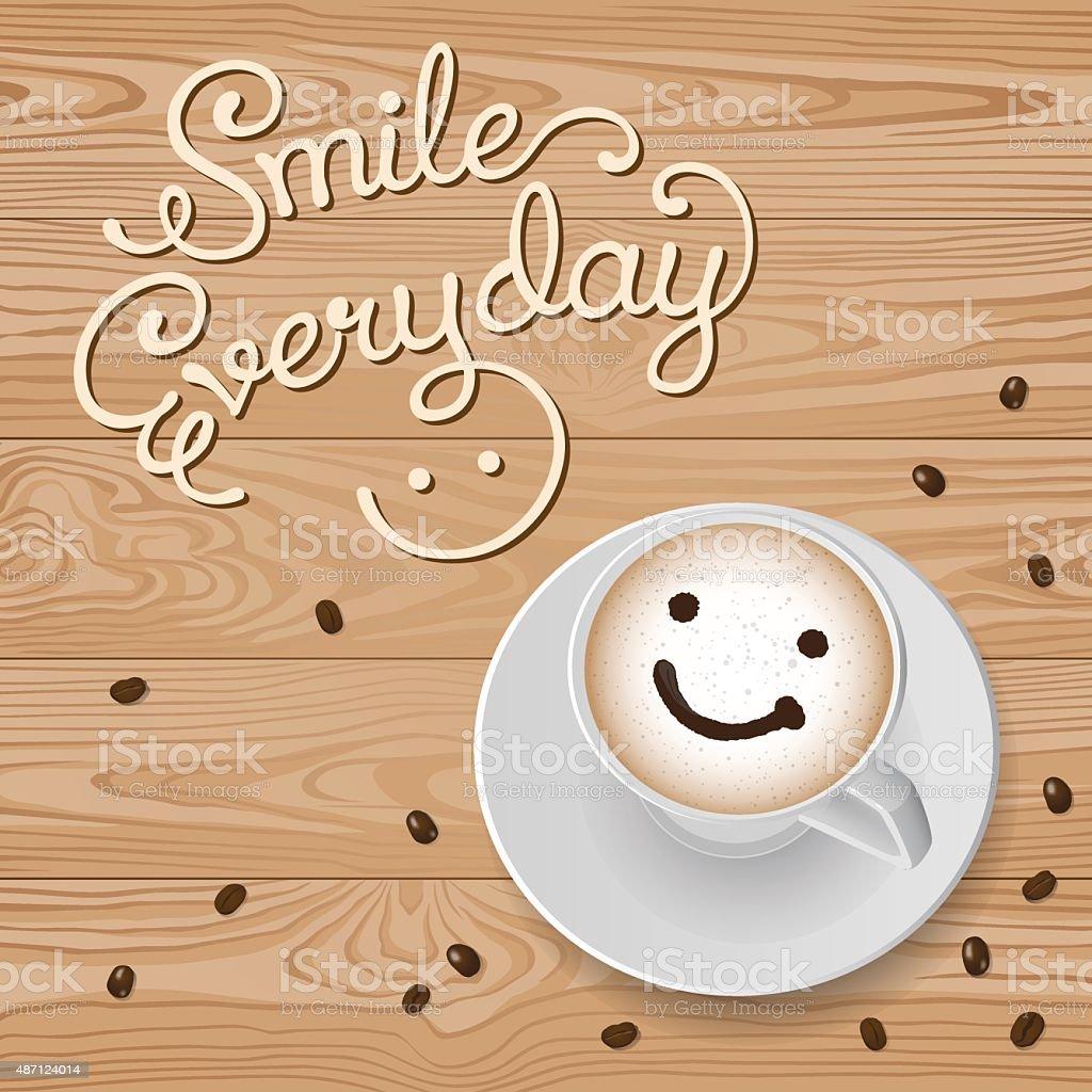 Smile Cappuccino vector art illustration