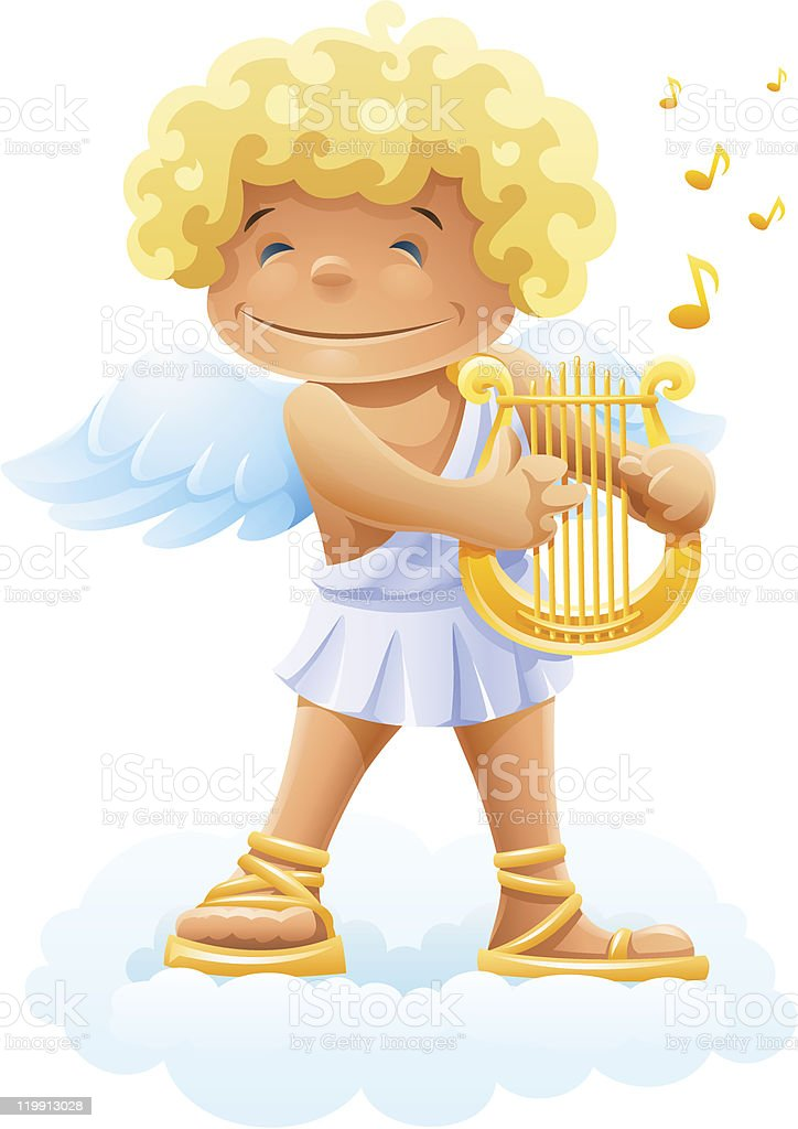 smile cupid playing lyre royalty-free stock vector art