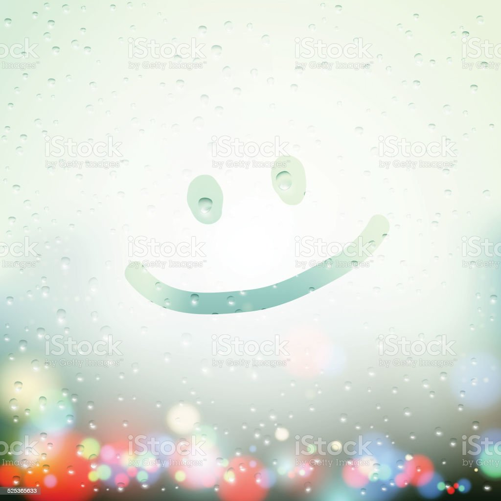 smile drawn on Sweaty Window vector art illustration