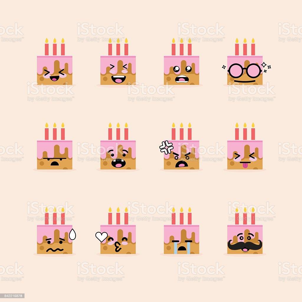 Smile Face Cupcake vector art illustration