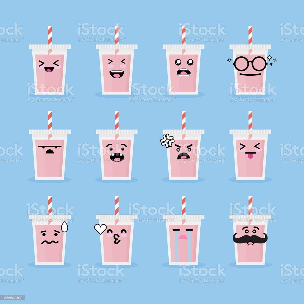 Smile face drink vector art illustration