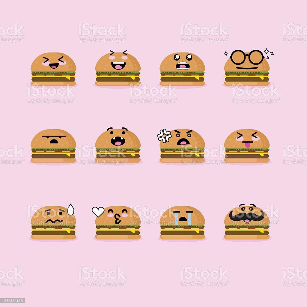 Smile Face Hamburger vector art illustration
